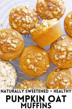 These Healthy Pumpkin Oat Muffins are naturally sweetened and have a hint of pumpkin! They are gluten-free and make a perfect on-the-go breakfast! #pumpkin #oats #glutenfree #muffins #dessert #healthy #pumpkinmuffins Cinnamon Roll Muffins, Oat Muffins, Dessert Healthy, Healthy Eats, Healthy Recipes, Healthy Pumpkin, Baked Pumpkin, Pumpkin Pie Bars, Pumpkin Spice