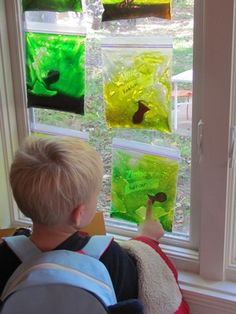 Sensory squishy fish aquarium. Use dollar store hair gel and food coloring. Fill with fish/objects if desired.  Tape top of bag closed with clear packing tape.  Hint: rub off ziploc logo with nail polish remover.