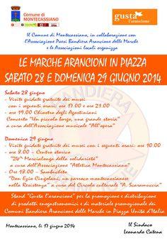"""""""gusta l'arancione: le Marche arancioni in piazza"""" - Programma del Comune di MONTECASSIANO"""