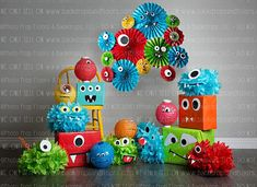 Colorful Monsters Themed Photography Backdrop, Birthday Party, Cake Smash, Vinyl, Poly Paper, Fleece