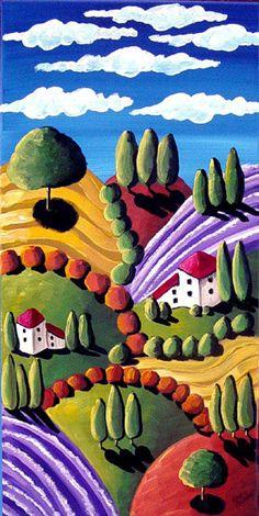 Whimsical Tuscan Tuscany Landscape Folk Art...i want a print of this