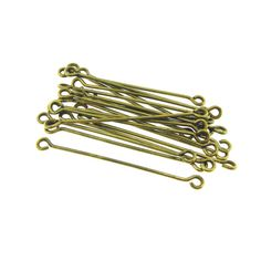 Antique Brass 2 Two Double Sided Eye Pins by FancyGemsandFindings, $3.30