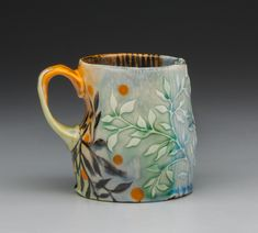 Pottery Gifts, Pottery Mugs, Ceramic Pottery, Porcelain Mugs, Ceramic Plates, Ceramic Art, Painted Pots, Hand Painted, Types Of Ceramics