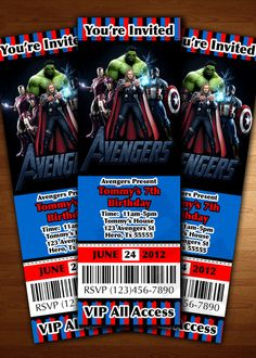 Avengers ticket Invitation Birthday party by JayPeaCreations, $12.00