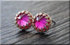 READY to SHIP July Ruby Earrings. Sterling by thewrappedpixie