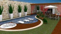 Resultado de imagen de piscina pequena com deck e churrasqueira Backyard Pool Designs, Small Backyard Pools, Small Pools, Swimming Pool Designs, Backyard Landscaping, Outdoor Spaces, Outdoor Living, Outdoor Decor, Pool House Decor