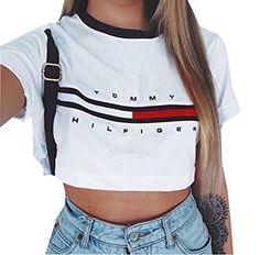 Damen Kurzarm Crop Top Gebl¨¹mt Sommer loses T-Shirt: Amazon.de