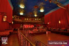 Historic Yost Theater built in 1912 features 2 full bars, 2 stories, dressing rooms backstage, outdoor patio, vintage marquee & poster boxes, in-house catering, state-of-the-art sound/lights, 3 giant LED walls, 7-watt laser and our 25 x 58 foot stage. Great uses include: nightclubs, concerts, Orange County weddings, fashion shows, film premiers, company parties, dinner shows and sporting events.