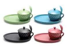 Stoneware range from Lesser & Pavey. Soup bowl with spoon and plate retails at £14.99. www.leonardo.co.uk