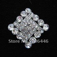 Silver Plated Alloy and Rhinestone Crystal Rhomb Shape Small Brooch