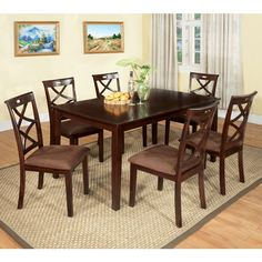 Baxter Traditional Style Dark Walnut Finish 7-Piece Dining Table Set