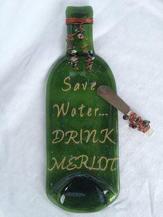 Save Water Drink Merlot Melted Wine Bottle by WineYesPlease