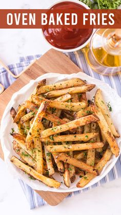 """Perfectly golden brown and oven baked, we're teaching you how to easy make oven baked fries for a quick snack. I ask the kids every Sunday, """"Any requests for dinner this week?"""" Every time, without fail, I hear, """"Potatoes!"""". Although our roasted potatoes, baked potatoes and air fryer potatoes are my go-to's, I'm always looking for quick ideas and these easy oven baked fries are one of the best."""