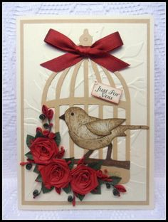 Just for You - Bird & Bird Cage Handmade Card with Handmade Quilled Roses | eBay