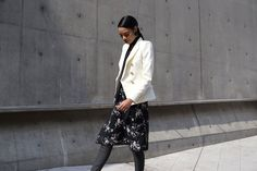 Let This Korean Street Style Be All The Spring Fashion Inspiration You Need #refinery29  http://www.refinery29.com/2016/03/107017/korean-fashion-seoul-street-style-photos#slide-22  Dress up your favorite floral frock by pairing it with a structured blazer (that isn't black)....