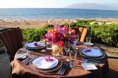 We can't think of a more beautiful place to have a custom meal for this family of 4 | Four Seasons Resort Maui at Wailea Catering and Special Events #fsmaui #fscatering