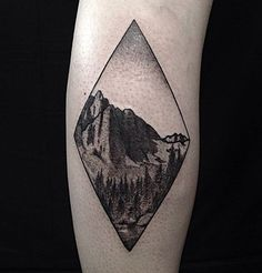 The great thing about these kinds of tattoos (the ones that are inside shapes like circles and diamonds) is that it looks clean but it also looks like a full picture.