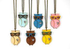 Nerd Owl Necklace  Handmade  laser cut by UnpossibleCuts on Etsy