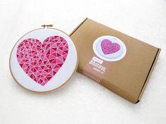 Easy Embroidery Kit Valentines Gift Idea Pink Geometric Heart Hoop Art Beginner Needlework Set Mothers Day Gift Ideas Easy Needlecraft by OhSewBootiful #embroidery #needlework #embroiderypattern #hoopart #diyembroidery #diyhoopart #embroiderykit #needlework #diygift #giftforcrafter