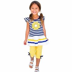 AUIE SAOSA Little Girls Daisy Flower Stripe Shirt Top Bow Pant Set Blue&White BW3T. Material:Cotton. For ages: Girls (1-7 years old). Great material for your child. Lovely Printing T-shirt Shorts Set to make your child happier in the summer!. Good stitching and well made,durable.