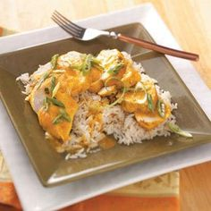 Slow-Cooked Curry Chicken Recipe from Taste of Home -- shared by Helen Toulantis of Wantagh, New York  #healthy