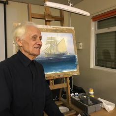 The legend that is Anthony Batey Chairman of the South Wales Art Society  #SWAS demonstrates a marine sea scape with historically accurate c1900 ships. #originalartwork #marinepainting