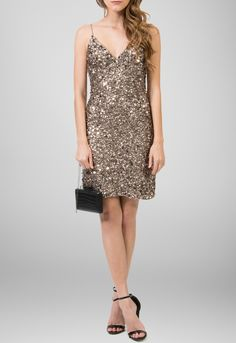 Vestido curto de alcinha todo em paetê bronze Adrianna Papell - powerlook