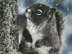 Lesley Harrison Painting  Animals That Touch The Heart  - Squirrel in Snow  - Lesley Harrison Animals Paintings  12