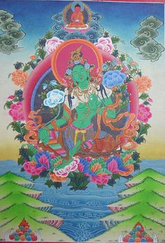 green+tara | GREEN TARA THANGKA PAINTING