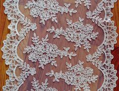 Wedding Lace Fabric Embroidery Lace Fabric Floral by LaceNTrim