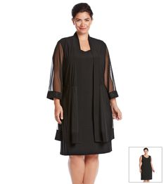 R&M Richards® Plus Size Beaded Neck Jacket Dress