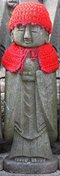 Jizō Bosatsu (Japanese) Ksitigarbha Bodhisattva (Sanskrit)_Jizō works to ease the suffering and shorten the sentence of those serving time in hell, to deliver the faithful into Amida's western paradise