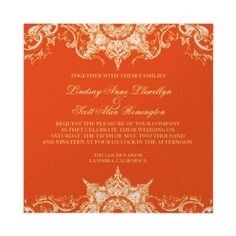 The perfect marriage of Modern & Traditional!  Tangerine and white on a pearl like paper = gorgeous.  Mix and match colors for even more fun.