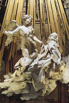 "(closeup): ""The Ecstasy of St. Teresa of Avila"", in Rome, 1647-1652, by Gian Lorenzo Bernini, (one of resident sculptors, other than Michealangelo & Raphael, for the Vatican... (said by some to be secretly, one of the Illuminati!)"