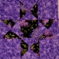 12 Lilac Star Quilt Blocks Kit - Purple Flowers - Ohio Star- Floral Fabric Quilting Sewing