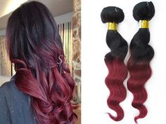 #OmbreHair Extensions Brazilian Remy Hair Loose Wave T1B-99J