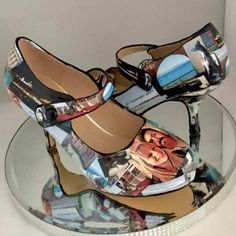 Personalised photo shoes You send your favourite pictures to be put on any style shoe Matching clutch bags and other colours white,pastels and colour match available please see my shop listings Hand crafted, Excellent quality & made to last! Ideal for weddings , prom , special