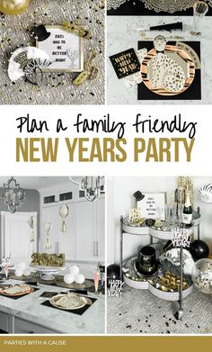 Plan a family friendly new years eve party with a WILD side! Use cheetah prints with your black and gold to pump up the fun factor and ring in the new year right! Snag all the fun new years food ideas, new years party decor, and countdown suggestions for kids at PartiesWithACause.com Designed in partnership with @zurchers party store. #newyearsparty #newyearsforkids #familynewyears