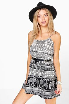 Cara Elephant Strappy Skater Dress