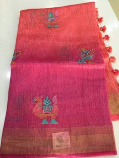 Pure Handloom Lenin Sarees with Embroidery Work Lines Pallu n Plain Running Blouse 100 Count Order what's app 7995736811 Elegant Fashion Wear, Trendy Fashion, Handloom Saree, Silk Sarees, Traditional Sarees, Pure Products, Embroidery, Count, App