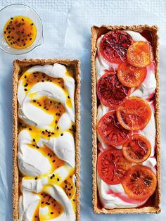 Trends : Passionfruit and blood orange ricotta tarts! Passionfruit and blood orange ricotta tarts! Tart Recipes, Sweet Recipes, Dessert Recipes, Cooking Recipes, Sweet Pie, Sweet Tarts, Just Desserts, Delicious Desserts, Yummy Food