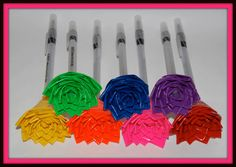 Duct tape flower on pen Duct Tape Pens, Duct Tape Flowers, Duct Tape Crafts, Duck Tape, Diy Flowers, Mother And Father, Mothers, Cool Office Supplies, Flower Pens