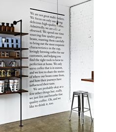 Love this text on the wall atMarket Lane -Therry st, Melbourne CBD. Interior styling / design detail byClaire Larritt-Evans, photographyArmelle Habib.