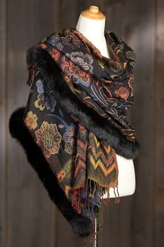Generously edged in Canadian blue fox fux, this warm yet lightweight shawl goes with casual or evening clothes for a fine fashion finish. Free shipping   returns.
