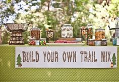 Camping Theme Baby Shower Food Trail Mix Bars 63 New Ideas First Birthday Parties, Birthday Party Themes, First Birthdays, Birthday Ideas, Theme Parties, Birthday Boys, Slumber Parties, 16th Birthday, Backyard Camping Parties
