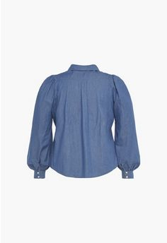 Womens Tops Online - Shirts, Tanks & Tees, Jackets and Sweaters On Sale Denim Button Up, Button Up Shirts, Plus Size Stores, Ballon, Cotton Fabric, Tops Online, Type 100, Balloon Sleeves, Tees