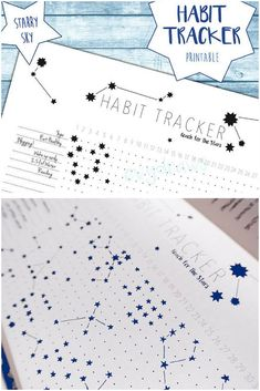Love this idea for bujo habit tracker! This unique habit tracker printable lets you doodle stars for each daily habit you're tracking - leaving you with a starry sky pattern in your bullet journal or planner at the end of the month! Best part? You can just print the free printable and stick it in your planner to save time! Bullet Journal Calendrier, Bullet Journal Planner, Bullet Journal Tracker, Bullet Journal Hacks, Bullet Journals, To Do Planner, Small Planner, Life Planner, Bujo