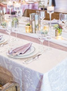 Rose Martinique Full Length Table Linen paired with a Dusty Rose Plush Velvet Wide Runner & Napkin, topped with a White Voile Table Veil. Image by Fully Alive Photography Fully Alive, Table Linens, Dusty Rose, Paisley Print, Napkin, Veil, Plush, Velvet, Table Decorations
