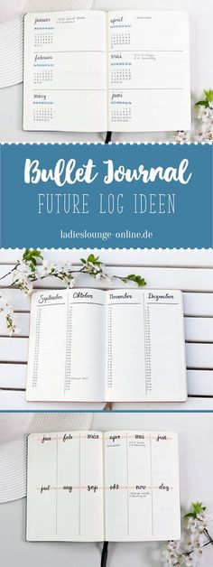 "BULLET JOURNAL IDEEN DEUTSCH Future Log Ideen | 3 Future Log Layouts. Hier erfährst du, wie du mit dem Future Log den Blick für´s ""Große Ganze"" behältst und Termine auch weit im voraus planen kannst. Finde Ideen und Inspiration für dein Bullet Journal bei Bullet Journal Doodles, Bullet Journal Spreads, Bullet Journal Page, Bullet Journal Inspo, Bullet Journal Yearly Overview, Bullet Journal Bucket List, Future Log Bullet Journal, Hobbies That Make Money, Hobbies And Interests"