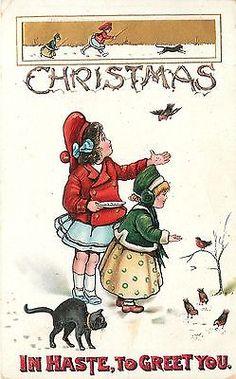 Christmas~Victorian Little Girls Feed Birds~Black Cat Stalking~Emboss~BB London